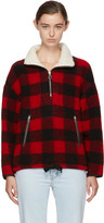 Etoile Isabel Marant Red and Black Gilas Blanket Jacket
