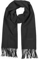Moschino Solid Wool Signature Long Scarf w/Fringe