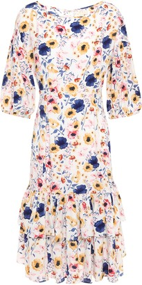 By Ti Mo Tiered Floral-print Crepe Dress