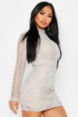boohoo Boutique Crochet Panelled Bodycon Dress