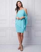 Le Château Chiffon Cold Shoulder Cape Dress
