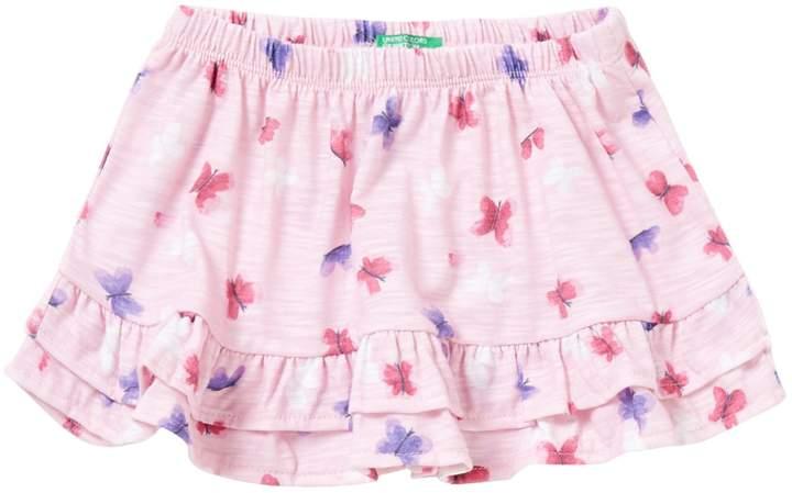 Benetton Ruffle Hem Skirt AO Butterfly Print