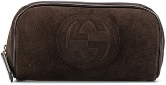 Gucci Pre Owned 2000 Embossed Logo Cosmetic Pouch