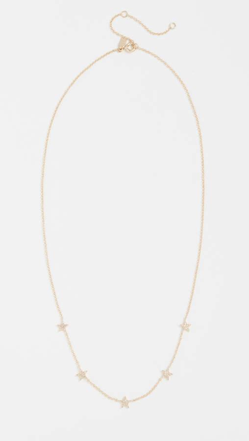 Ef Collection 14k Gold Diamond 5 Mini Star Necklace
