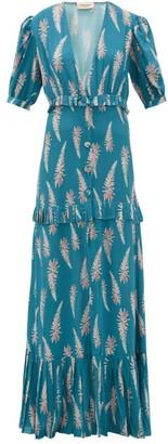Adriana Degreas Aloe Print Pleated Trim Twill Maxi Dress - Womens - Blue Print