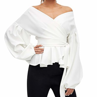 Lazzboy Tops Womens Long Lantern Sleeve Off Shoulder Satin Size Deep V Neck Tie Waist Sexy Ladies Party Shirt Blouse(L(12)