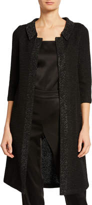 St. John Allure Knit 3/4-Sleeve Topper Coat