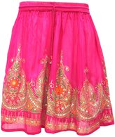 Maple Clothing Womens India Skirts Knee Length Sequins Indian Clothes (Black)