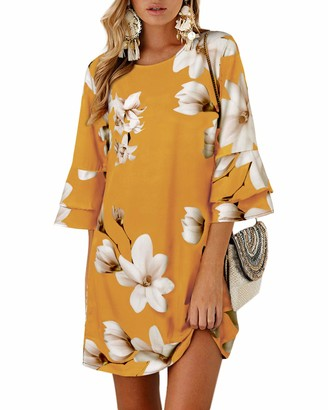 YOINS Women Summer Dresses Floral Mini Dress Tunic Top Short Sleeves Round Neck T Shirt Dresses Floral~Pink Large