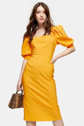 Topshop Ochre Square Neck Midi Dress