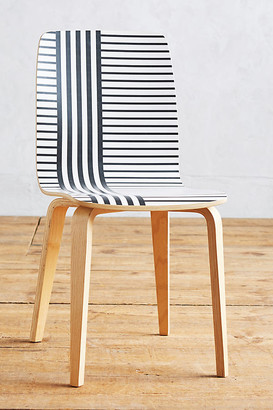 Anthropologie Striped Tamsin Dining Chair By in Black Size ALL