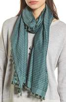Eileen Fisher Stripe Cotton & Silk Scarf