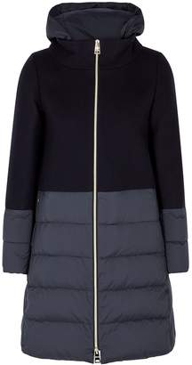 Herno Navy Panelled Wool-blend Coat