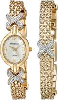 Swarovski Armitron Women's 75/3176SET Crystal-Accented -Tone Watch and Bracelet Set