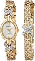 Swarovski Armitron Women's 75-3176SET NOW Crystal Accented -Tone Bracelet Set Watch