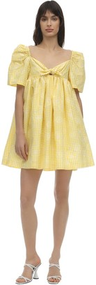 pushBUTTON Cotton Blend Gingham Mini Dress