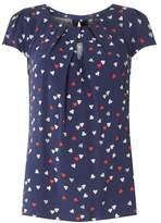 Dorothy Perkins Womens **Billie & Blossom Navy Heart Print Viscose Top