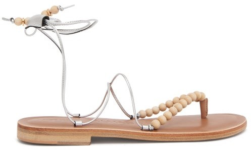 Álvaro González Akaiah Beaded Wraparound Metallic-leather Sandals - Silver