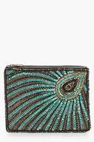 boohoo Womens Mia Peacock Sequin And Bead Clutch in Green size One Size