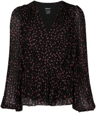 DKNY heart-print V-neck blouse