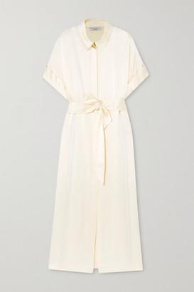 MARTIN MARTIN Constance Belted Satin Maxi Shirt Dress - Ivory