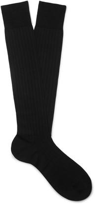 Maximilian Mogg Ribbed Silk-Blend Over-The-Calf Socks