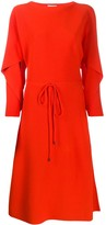 Salvatore Ferragamo fluted-sleeve drawstring dress