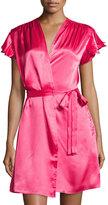Oscar de la Renta Charmeuse Short Wrap Robe, Pink