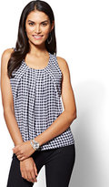 New York & Co. Chiffon Overlay Shell - Gingham Print