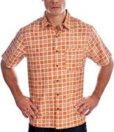 RedX Men's Hawaiian Button Down T-Shirt Orange Jalapeno