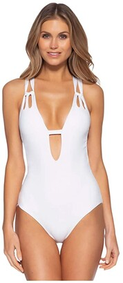 Becca by Rebecca Virtue Color Code Skylar One-Piece Plunge (White) Women's Swimsuits One Piece