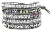 Chan Luu Grey Crystal Mix Wrap Bracelet / Grey Leather