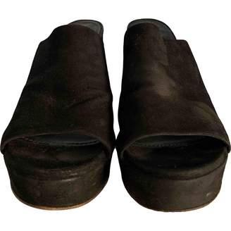 Mansur Gavriel Black Suede Mules & Clogs