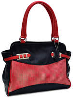 Dasein Black & Red Belted Satchel