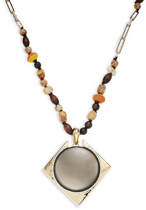 Alexis Bittar Wood Mixed Bead Lucite Pendant Long Necklace
