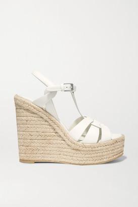 Saint Laurent Tribute Woven Leather Espadrille Wedge Sandals - White