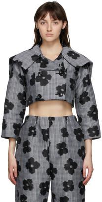 Comme des Garcons Black and Grey Floral Cropped Jacquard Jacket