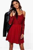 boohoo NEW Womens Boutique Pam Cord Lace Top Skater Dress in Polyester