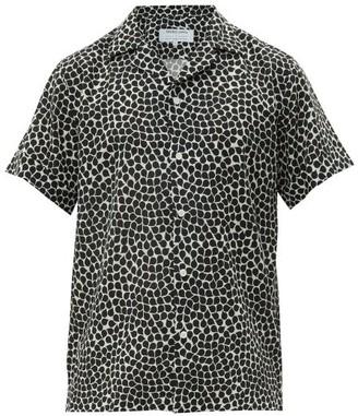 Frescobol Carioca Gotas Cuban-collar Short-sleeve Shirt - Mens - Black White