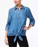 Style&Co. Style & Co Petite Tie-Hem Denim Shirt, Created for Macy's