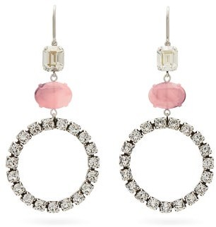 Isabel Marant Crystal And Marbled Drop Earrings - Pink