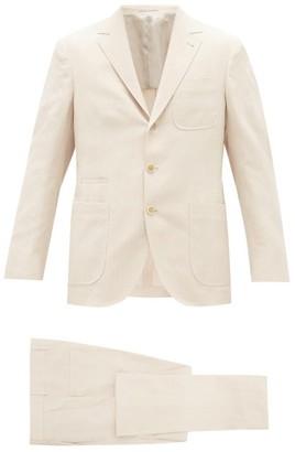 Brunello Cucinelli Single-breasted Linen-blend Herringbone Suit - Mens - Beige