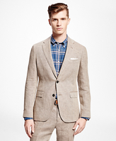 Brooks Brothers Brown Tic Linen Suit Jacket