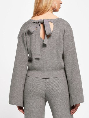 River Island Bow Back Knitted Lounge Top - Charcoal