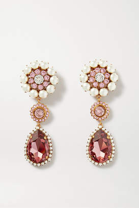 Dolce & Gabbana Gold-tone, Crystal And Faux Pearl Clip Earrings - Pink