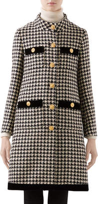 Gucci Houndstooth Coat with Velvet Trim