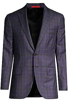 Isaia Men's Classic-Fit Delain Selection Wool Plaid Jacket
