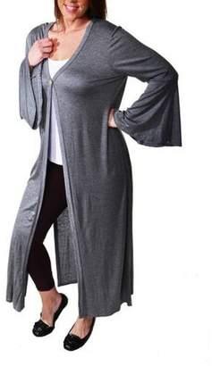 24/7 Comfort Apparel Women's Plus Size One Button Maxi Jacket