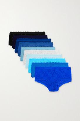 Hanky Panky Signature Set Of 10 Stretch-lace Boy Shorts - Blue