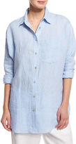 Go Silk Long-Sleeve Cross-Dye Linen Big Shirt, Petite